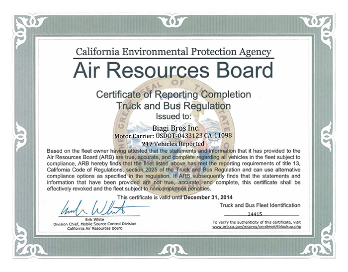 Air Resources Board Certificate